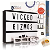 WICKED GIZMOS ® Large 24 Bright LED A4 Cinematic Light Box with Double Pack Letters, Numbers and Symbols - 100 Black and 100 Colourful PLUS 15 Bonus Emoji Cards - Personalise your Message Every Day - Freestanding or Wall Mounted - USB or Battery Operated - Available in Black, White, Gold or Pink