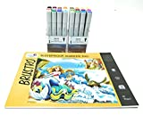 #6: Brustro Twin Tip Alcohol Based Marker Set of 12 Basic A & Set of 12 Basic B With Brustro Bleedproof Marker Pad 70 GSM A4 ( Contains 50 Sheets )