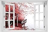 Wallario selbstklebendes Poster - Romantische Bootsanlegestelle in rot-weiß in Premiumqualität, Größe: 61 x 91,5 cm (Maxiposter)