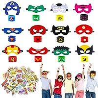 caicainiu 74 superhero masks, superhero bracelets and blast slogan stickers, superhero party bag (boys and girls adults) birthday stuff, superhero children party collection toys