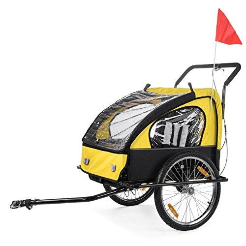 SAMAX Fahrradanhänger Jogger 2in1 Kinderanhänger Kinderfahrradanhänger Transportwagen für 2 Kinder Gelb/Schwarz - Black Frame - 3