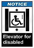 'Hinweisschild AUFZUG für Behinderte 25,4cm breit x 35,6cm hoch