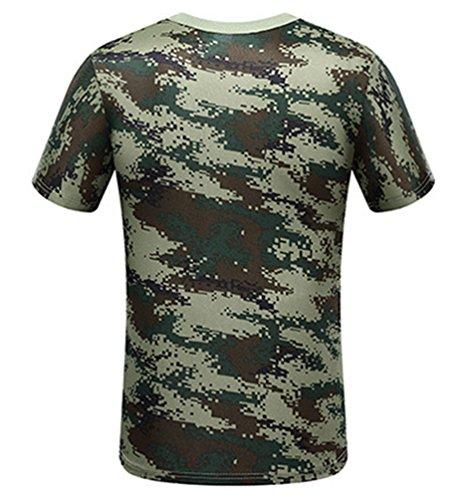 ZhiYuanAN Sommer Unisex Militärisches Trainings Sport T-Shirt Kurze Ärmel Camo Shirt Army Camouflage Kampf Tops Digitale Waldland /Ozean /Wüste Tarnung Tee Shirt Tarnung Stil 7
