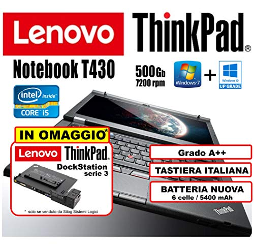Lenovo - Notebook ThinkPad T430 - Core i5, 4Gb RAM, 500Gb HHD, 14inHD+ (1600x900) Con Batteria Nuova...