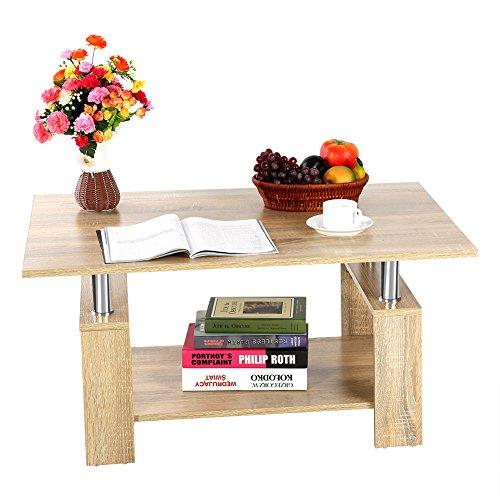 Zerone Table Basse en Bois Massif, 2 Etages Table Basse Rectangulaire Moderne Table d'appoint pour Salon Bureau Chambre 90 * 60cm