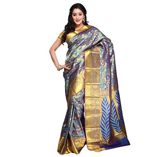 Varkala Silk Sarees Women's Art Silk Banarasi Saree With Blouse Piece(NS5102ADV_Turquoise Blue_Free Size)
