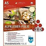 SKULLPAPER Premium Klebefolie transparent/Vinylklebefolie/Selbstklebefolie für Laserdrucker Plotter - Dekorfolie (A5-20 Blatt)