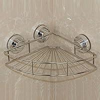 Ventose Rack, GETALL in acciaio inox bagno Rack polloni deposito cestino gancio, cucina e bagno parete piastra cesto rettangolare (Scaffalatura angolare)