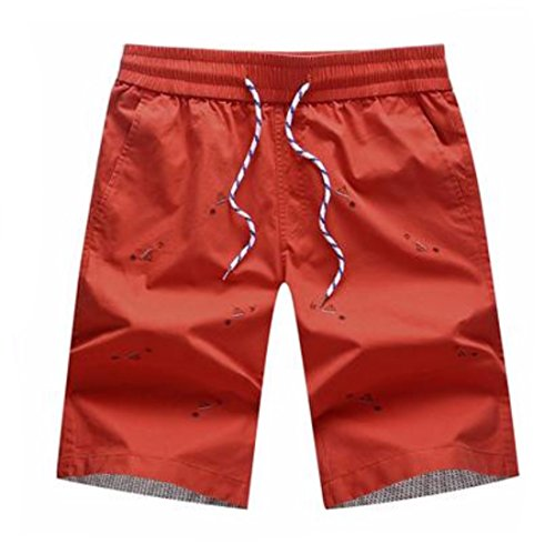 Men's Embroidery Pattern Cotton Casual Shorts Orange Red