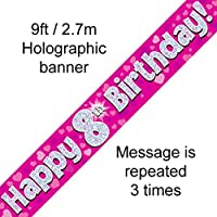 8th Birthday Pink Holographic Banner by Signature Balloons