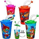 Unbekannt 2 Stück _ 3-D Effekt _ Trinkbecher / Trinkflaschen -  Jungen Motive  - mit Strohhalm & Deckel - 350 ml / 0,35 Liter - Kinderglas - Becher / Sommerglas - Tri..