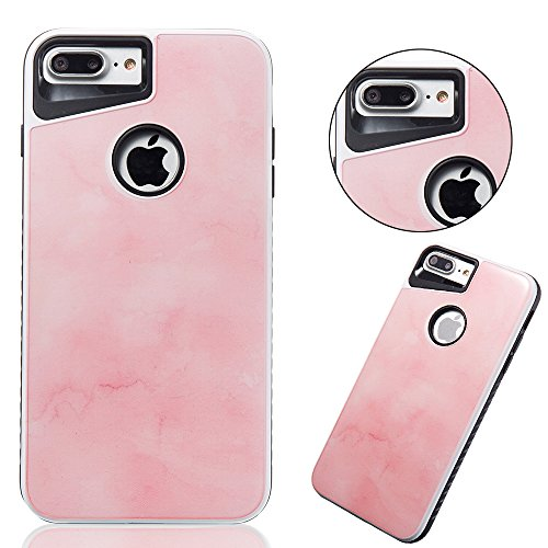Marmor Pattern Dual Layer Hülle für iPhone 7 Plus, Sunroyal Scratch Resistant Case PC TPU Silikon Gel Ultra Slim Schutz Cover Schock-Beweis Bumper Etui Kratzfeste Dauerhaft Rundum-schutz Handyhülle fü Pattern #2