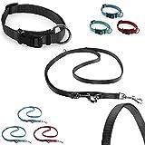 CarlCurt Classic-Line Hundehalsband & Hundeleine im Set, aus strapazierfähigem Nylon, M 35-53cm & M 1,90m, schwarz
