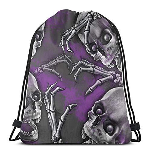 (BBABYY Printed Drawstring Backpacks Bags,Scary Creepy Spooky Happy Smiling Skeleton with Boned Hand Art Print,Adjustable String Closure)