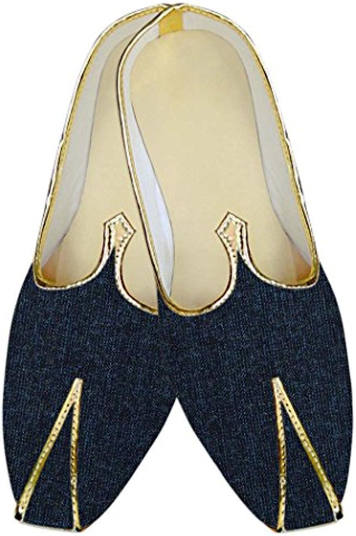 INMONARCH Hombres Mezclilla Azul Boda Zapatos Étnicas MJ015707