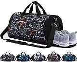 CoCoCoMall Sporttasche mit Schuhfach und Nasstasche, Reisetasche für Damen und Herren L Graffiti-Red