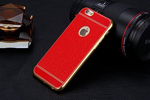 Coque iPhone 7 Plus,Étui iPhone 7 Plus,Coque Étui Case pour iPhone 7 Plus,ikasus® Plating faux cuir Coque iPhone 7 Plus Silicone Étui Housse Téléphone Couverture TPU Clair éclat Ultra Mince Premium Se rouge