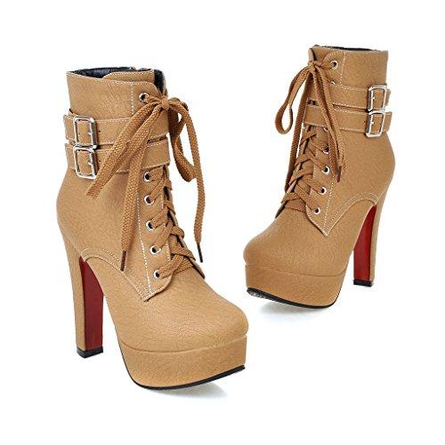 YE Blockabsatz Plateau High Heel Schnürstiefeletten mit Fell Elegant Fashion 12 cm Absatz Warm Gefütterte Herbst Winter Damenstiefel Tan
