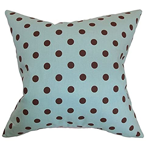 The Pillow Collection QUEEN-PP-POLKADOTS-FRENCHBLUEKEL French Blue Nancy Polka Dots Bedding Sham, Queen/20