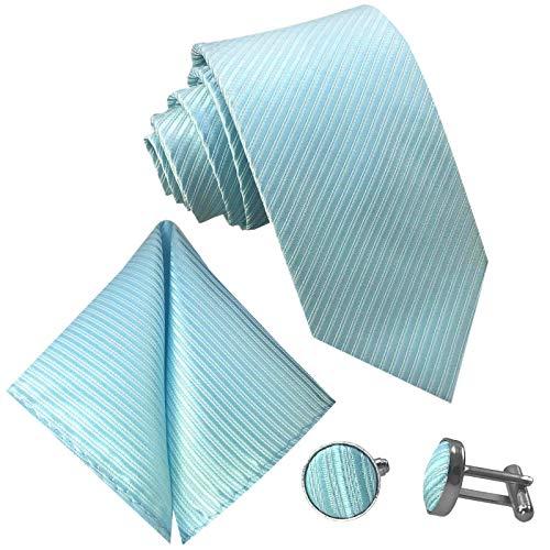 GASSANI 3-SET Türkise Krawatte Streifen gestreift | Binder Türkis-Blau Manschettenknöpfe Einstecktuch | Krawattenset zum Anzug - Streifen Krawatte