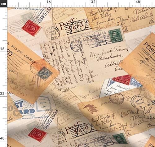 Postkarten, Handschrift, Kursiv, Schrift, Post, Briefmarken Stoffe - Individuell Bedruckt von Spoonflower - Design von Twobloom Gedruckt auf Jeansstoff - Bull Denim Stoff