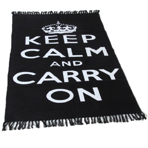 Homescapes Trendiger Keep Calm and Carry on Teppich Läufer 60 x 100 cm Vorleger schwarz weiß