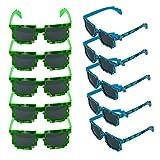 Kbnian 10 Paar Stilvolle Sonnenbrillen Pixel Brille Minecraft Sonnenbrille für Party, Reisen, Hawaii, Halloween