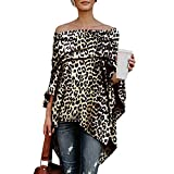 Damen Pullover, Cooljun Frauen Sexy Off Schulter Leopard Printed Asymmetrische T-Shirts Langarmshirts Bluse