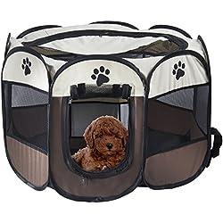 MiLuck Pet Portable Foldable Playpen, Exercice 8-Panneau Kennel Mesh Shade Cover Intérieur / extérieur Tente Clôture Pour Chiens Chats(S-Brown)