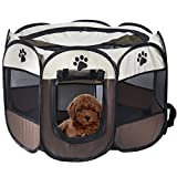 Generic Pet Portable Foldable Playpen, Exercise 8-Panel Kennel Mesh Shade Cover Indoor/outdoor Tent Fence For Dogs Cats (S/Brown)