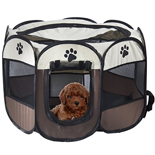 MiLuck Haustier Portable Foldable Playpen, Übung 8-Panel Kennel Mesh Shade Cover Indoor / Outdoor Zelt Zaun Für Hunde Katzen (S / Braun)