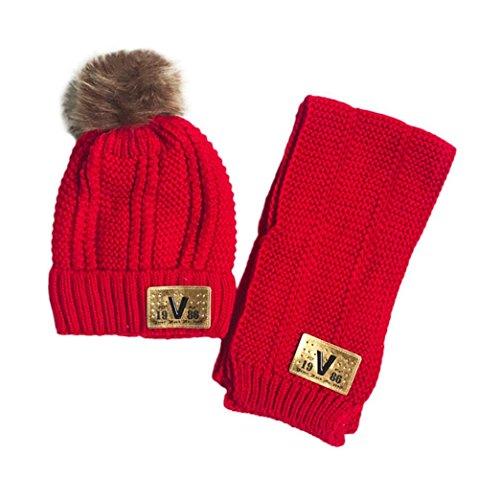 FeiliandaJJ 2Pcs Baby mützen + Schal Kinder Baby Jungen Mädchen niedlich halten warme Wintermütze (rot)