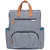 Diaper Bag Backpack By Kute N Koo - Fashion And Function In One Bag - Designed In NYC - Matching Changing Pad - Water Resistance And Wipeable Surface- And Much More (Black And White French Stripe)