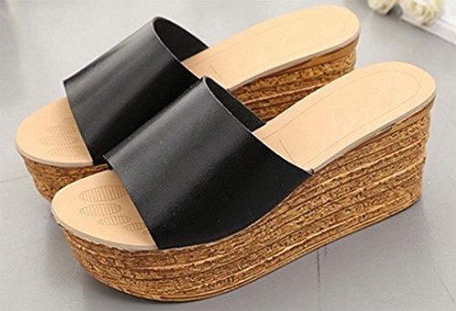 Mme pente croûte épaisse en sandales d'été et pantoufles mot sandales glisser avec des chaussures de plate-forme Black