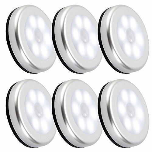 Nachtlicht mit Bewegungsmelder LED Batteriebetrieben 6 Stück Auto EIN/AUS 3M Klebend für Kinderzimmer Schlafzimmer Küche Flur Schrank Orientierungslicht (Kalt weiße)
