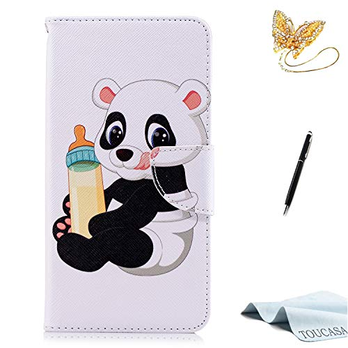 Huawei P20 Pro Handyhülle,Huawei P20 Pro Hülle,TOUCASA Brieftasche flip etui tasche 360 grad Karte Halterung Kartenfächer extra Dünn Klapphülle Leinwand Farbmalerei Art fürHuawei P20 Pro(Baby Panda)