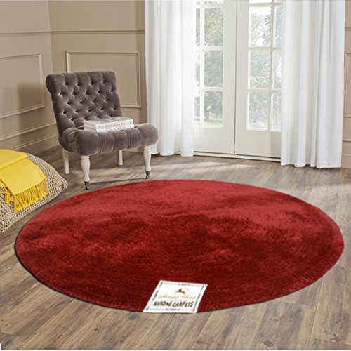 Avioni Handloom Soft Shaggy Plain Red Viscose Round Carpet (130 Cms)
