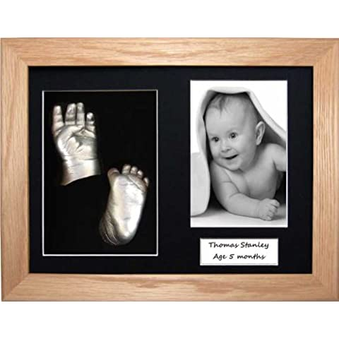 Baby Casting Kit with 29cm x 22cm Solid Oak 3D Box Display Frame / Silver Metallic paint by