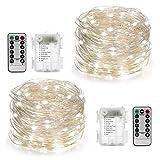 YIHONG 2 Stück Batterie Lichterkette 100 LEDs 10M Led Lichterkette Außen 8 Modi mit Fernbedienung und Timer DIY Dekoration Kupferdraht für Weihnachten, Garten, Hochzeit-Weiß