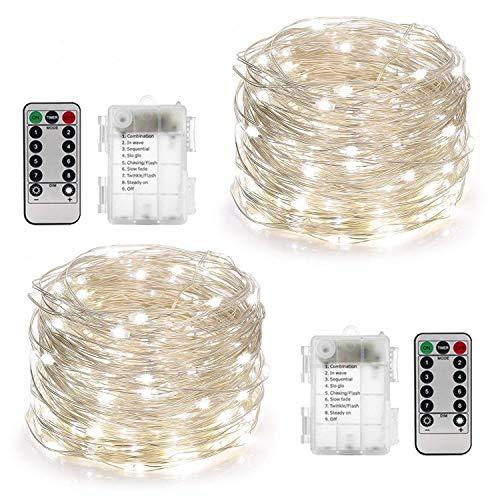2 Stück Lichterkette Batterie 10M 100er LED Lichterkette außen [Fernbedienung und Timer ] Lichterkette Batterienbetrieben (8 Modi,120 Stunden Betriebsdauer,Wasserdicht,Weiß)