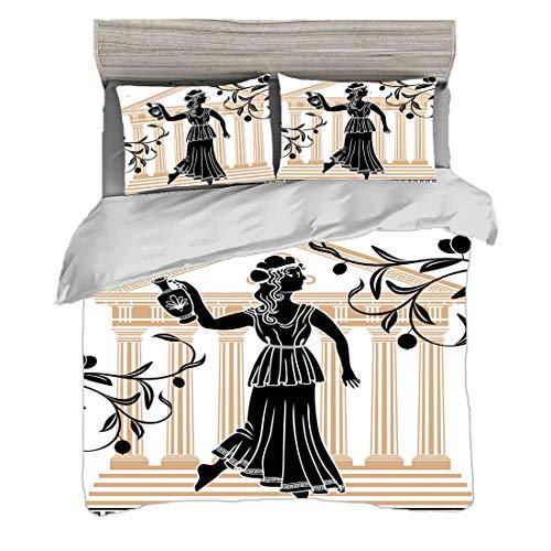 Bettwäscheset (220 x 240cm) mit 2 Kissenbezügen Toga Party Digitaldruck Bettwäsche Griechische Frau mit Amphoren-Gebäude und Olivenzweig-Kultur-Volksmuster, Pflegeleicht antiallergisch weich glatt