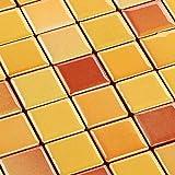 Keramik Mosaik Fliesen Gelb Mix Glänzend 6 mm