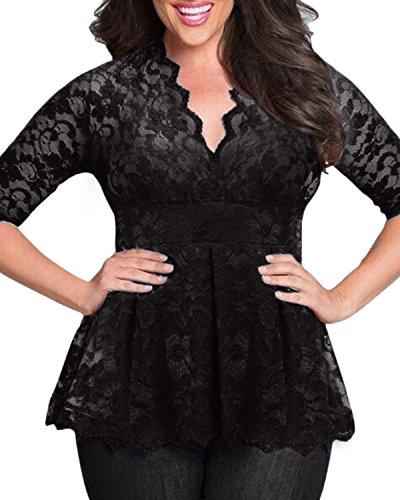 SUNNYME Damen Shirt Sexy Spitze Oberteile Elegant Langarmshirts Größe Plus Size V-Ausschnitt Blumen 1/2 Ärmel Crochet Bluse Tops Schwarz EU 54