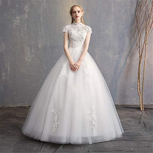 BTTNW WE Hochzeitskleid Womens Short Sleeve Brautkleider Sexy Backless Lace Appliques Brautkleider for die Braut Für Hochzeit besondere Anlässe (Farbe : White, Size : S) White Lace Floral Applique