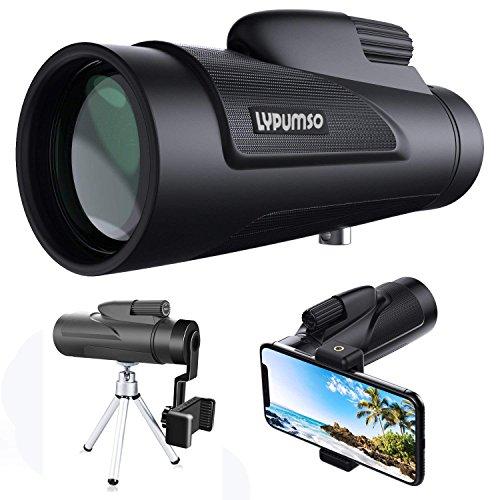 [2018 Neue Version] 12X50 Monokulare Teleskop, Lypumso HD Fernglas mit Handy Halterung und Stativ,...