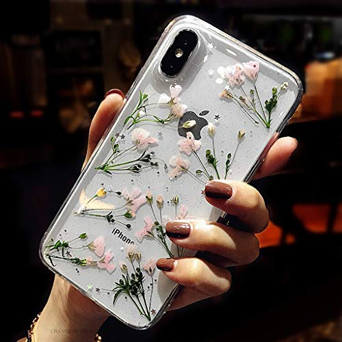 Bakicey iPhone 8 Hülle, iPhone 7 Handyhülle Getrocknete Blumen Case Kristall Gel Schutzhülle Handgefertigt Immerwährende Blume Bumper Cover Schale Schutzhülle für iPhone 8/iPhone 7 Daffodil