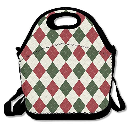 Argyle Tote (Christmas Argyle Pattern Lunch Bag Lunch Tote 11x11x5.5 Inch)