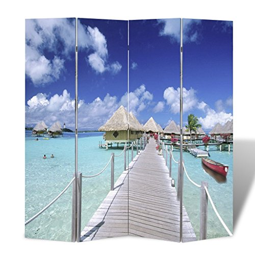 Festnight Biombo de Impresion de Playa Ideal para la Decoración 160 x
