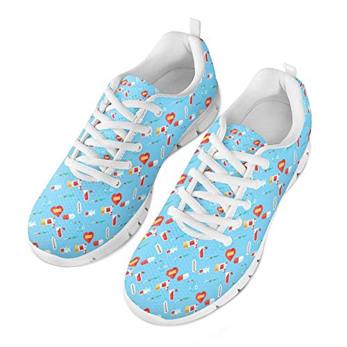 Coloranimal Cute Women Krankenschwester Wanderschuhe Air Mesh Lace Up Flache Schuhe - Größe EU 41 -