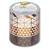 Folia 26416Ruban adhésif décoratif de papier washi tape Hot Foil cuivre, Lot de 4...